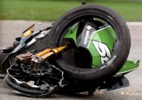 Shinya Nakano's Kawasaki after Bridgestone tire failure at 180mph